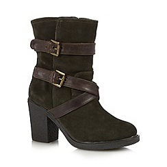 Mantaray - Khaki suede triple buckle calf length boots