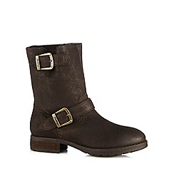 Mantaray - Chocolate leather borg lined boots