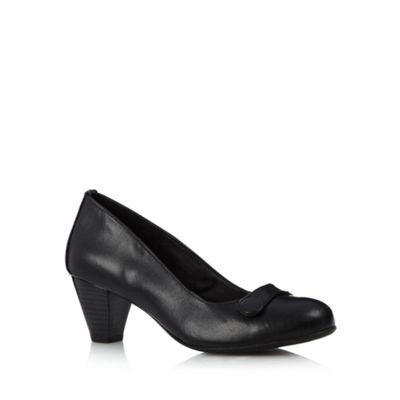 Good for the Sole Black leather button mid heel wider fit court shoes - . -