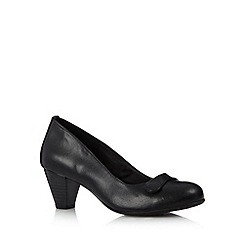 Good for the Sole - Black leather button mid heel wide fit court shoes