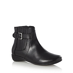 Good for the Sole - Black leather wide fit buckled ankle boots