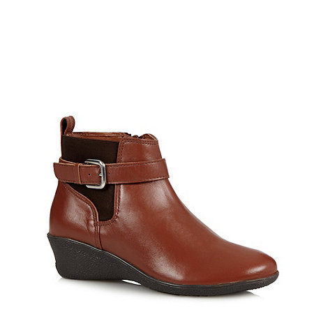 for the sole leather wide fit wedge ankle boots