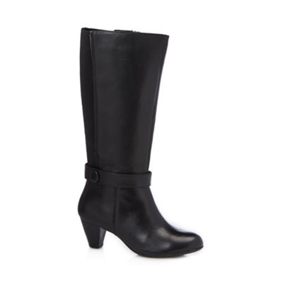 Good for the Sole Black leather button strap wider fit high leg boots - . -