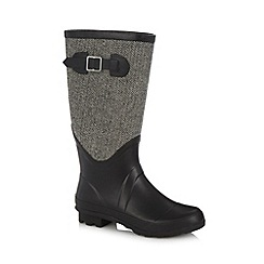 Mantaray - Grey tweed panel rubber wellies