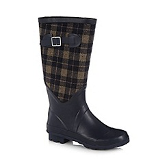 Mantaray - Navy checked panel rubber wellies