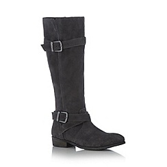 Mantaray - Grey suede double buckle mid heeled high leg boots