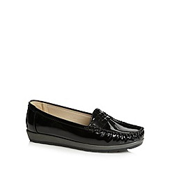 Good for the Sole - Black patent stitched wide fit loafers