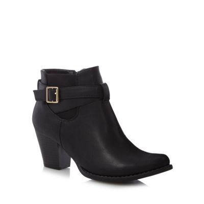 Good for the Sole Black buckle strap mid ankle boots - . -