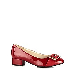 Good for the Sole - Red patent buckle trim wide fit mid heeled shoes