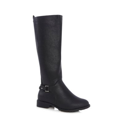 Good for the Sole Black buckled high leg riding boots - . -