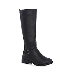Good for the Sole - Black buckled wide fit high leg riding boots