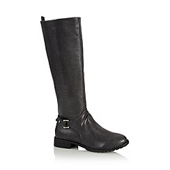 Good for the Sole - Grey textured wide fit high leg riding boots