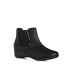 Good for the Sole - Black stitched wide fit ankle boots