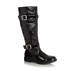 Good for the Sole - Black patent mock croc high leg boots