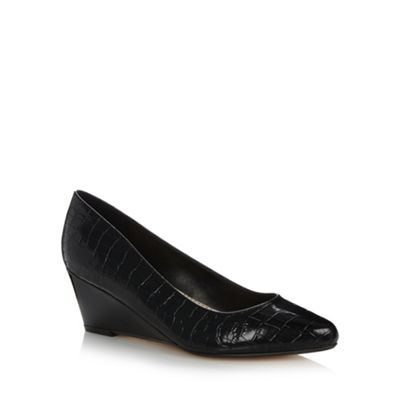 Good for the Sole Black croc low wedge wider fit court shoes - . -