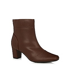 Good for the Sole - Tan square toe wide fit mid ankle boots