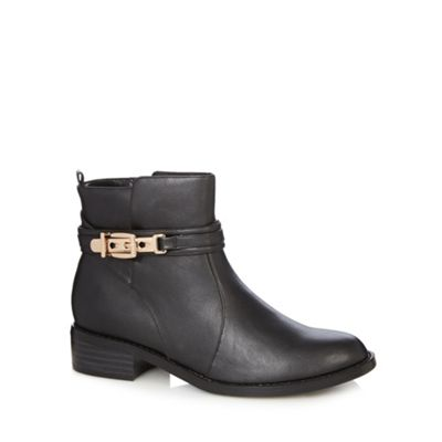 Good for the Sole Black buckle wider fit ankle boots - . -