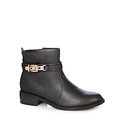 Good for the Sole - Black buckle wide fit ankle boots