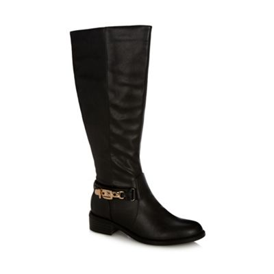 Good for the Sole Black faux leather high leg wider fit buckled boots - . -
