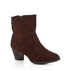 Good for the Sole - Brown mid heeled wide fit ankle boots