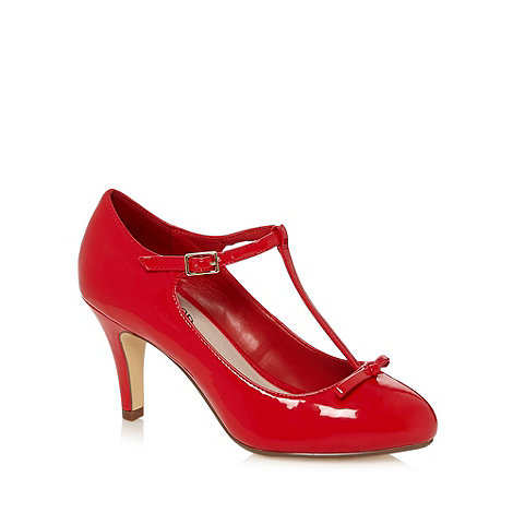 Good for the Sole - Red patent T-bar strap wide fit court shoes