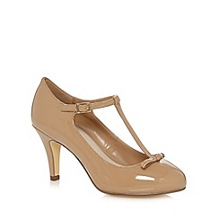 Good for the Sole - Camel patent T-bar strap wide fit court shoes
