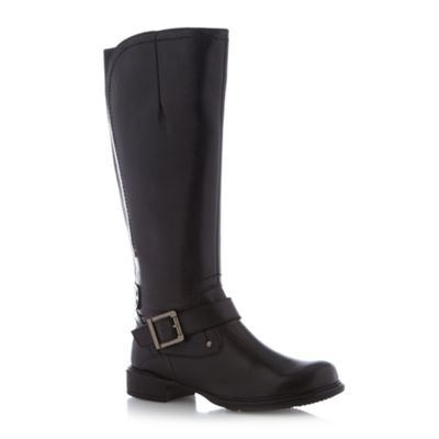Good for the Sole Black leather high leg stretch back boots - . -