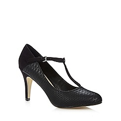 The Collection - Black textured T-bar high heel court shoes