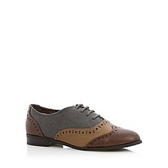 The Collection - Grey panelled lace up brogues