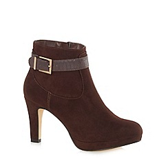The Collection - Chocolate faux suede high platform ankle boots