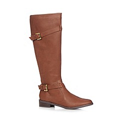 The Collection - Tan buckled mid heeled high leg riding boots