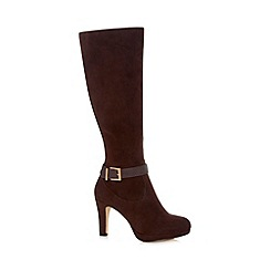 The Collection - Chocolate faux suede high heeled knee length boots