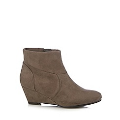 The Collection - Grey folded cuff mid wedge ankle boots