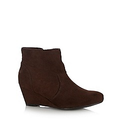 The Collection - Brown faux suede fold over mid wedge heel ankle boots
