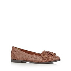 The Collection - Tan mock croc loafers