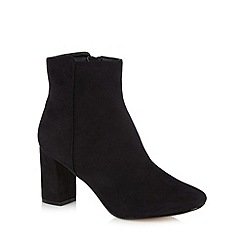 The Collection - Black suedette mid heel ankle boots