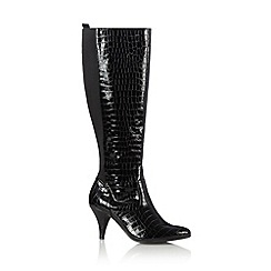 The Collection - Black mock croc stiletto round toe high leg boots