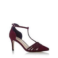 Debut - Dark pink embellished T-bar strap high court shoes