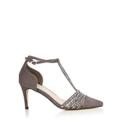 Debut - Grey embellished T-bar strap high court shoes