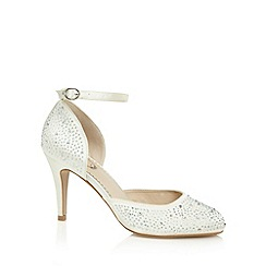 Debut - Ivory satin embellished heeled court shoes