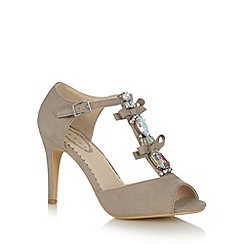 Debut - Grey jewel trim T-bar strap high court shoes