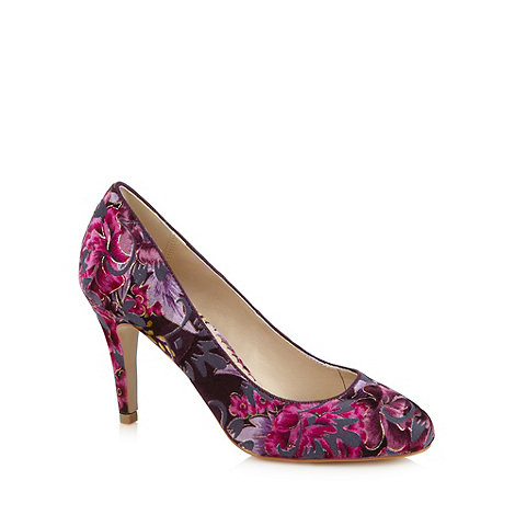 Debut - Purple floral velvet high court shoes