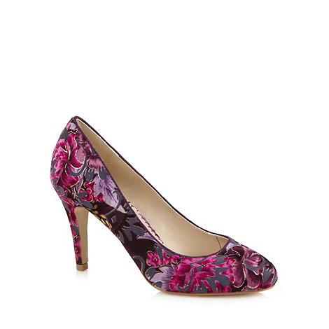 Debut - Purple floral velvet high court shoes