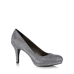 Debut - Silver glitter textured high court shoes
