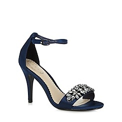 Debut - Navy satin jewel trim high sandals