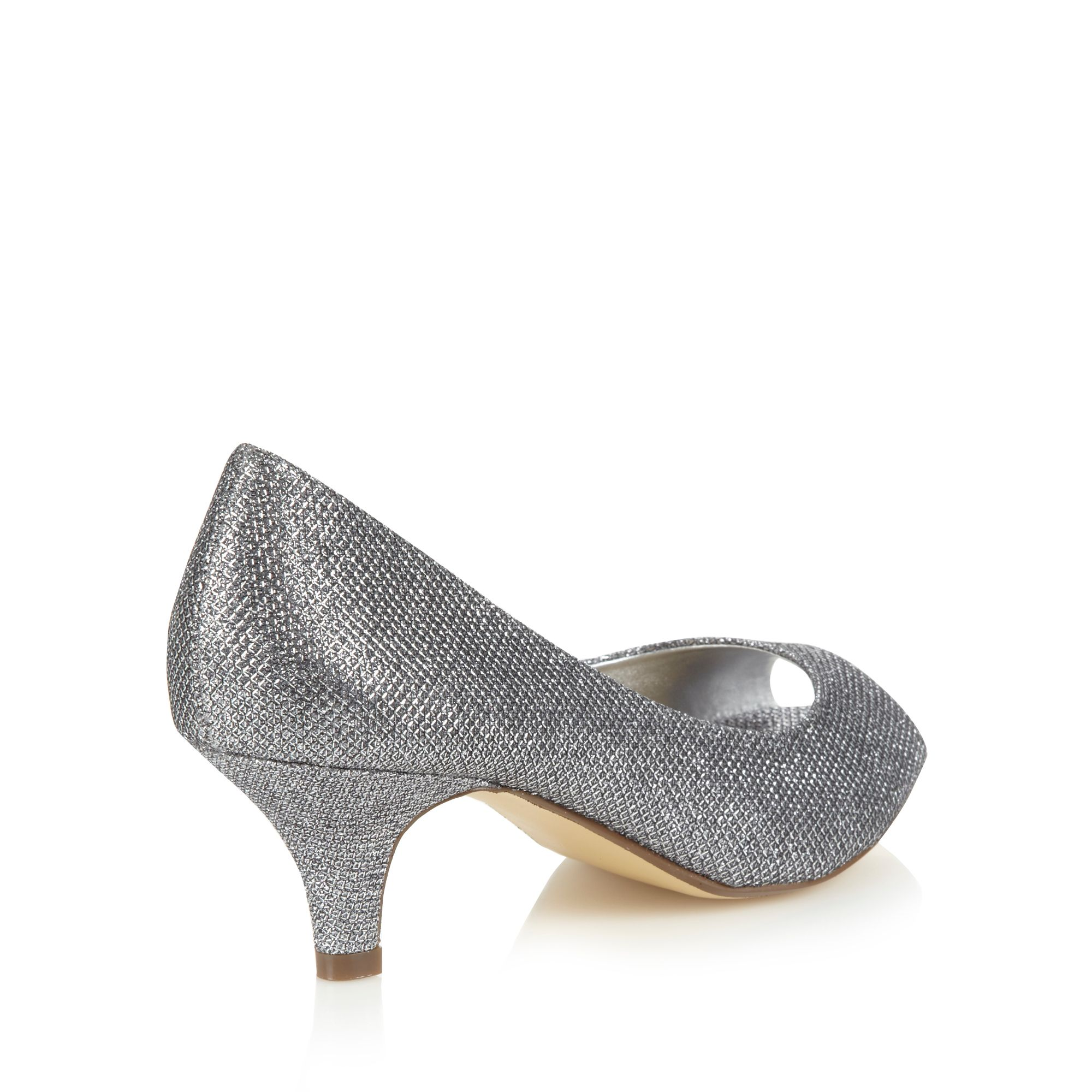 debut womens silver glitter mid court shoes from debenhams