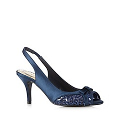 Debut - Navy satin sequin peep toe mid heel  sandals