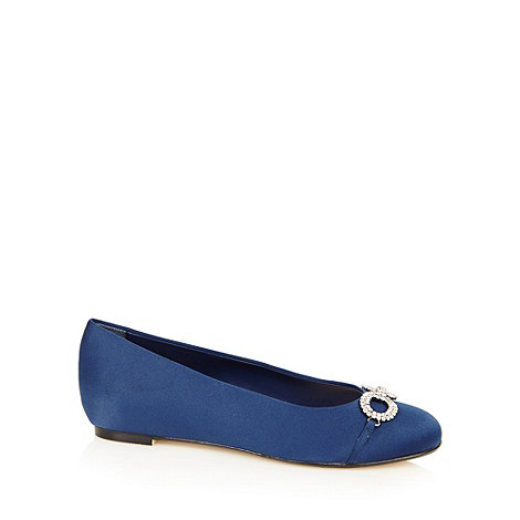 Debut - Navy diamante bow wide fit pumps