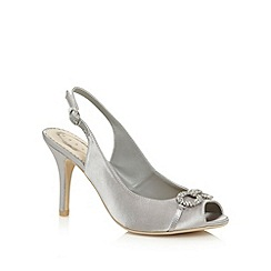 Debut - Silver satin embellished heeled sandals