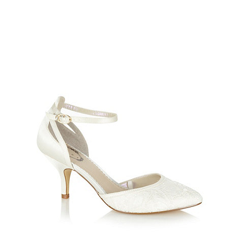 Debut - Ivory lace and satin high court shoes